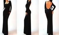 Free Shipping Black Spring 2014 European Long Sleeve Sexy Backless Empire Women Floor-length Prom Long Maxi Dress Bodycon Dress