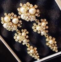 New Glitter Fashion Jewelry  Pearl Dangle Earrings Flower Wedding Drop Earrings For Women ED033