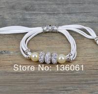 2pcs Wholesale Fashion Jewelry Vintage Silvers Rhinestone Beads 4-Strand White  Velvet Rope&Pearl Wrap  Bracelets &Bangle  P1958