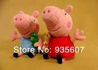 19cm 2pcs/lot  Peppa George Pig 'family Plush Toy Set Movie TV Peppa Pig hold Teddy Stuffed Animals Dolls Kids pepa