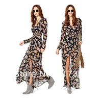 2014 New Arrive Women Summer Big Size Slim Beach Vacation Bohemian Dress Fashion High Street Long Chiffon Dress