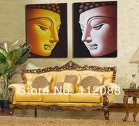 High quality!100% handmade  Modern realism art  2p large buddhism art the buddha handpaint oil painting on canvas