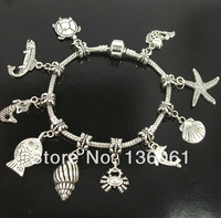 5pcs Fashion Jewelry Vintage Silvers Mixed Fish Turtle  Charms Bracelets &Bangle Free Shipping Jewelry DIY For Women  P1967