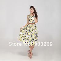 Fashion 2014 Dress New Spring summer women chiffon dress  floral print large size women dress. Free Shipping