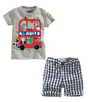 6set/lot wholesale summer kids t-shirt plaid pants 2pcs set clothes ,car boy's clothes ,child set brand