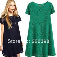 size S-XL New 2014 Women Fashion Vintage Bohemian Lace Plus Size Black White Dress Party Evening Elegant Club Midi Vestidos 6210