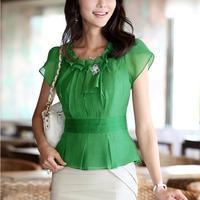 S-XXL 2014 New Arrival Women Spring Summer Fashion Short Sleeve Shirts Slim Ruffles Chiffon Blouses 7729-105