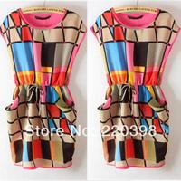 2014 hot sale New Arrival Fashion Drawstring Multi Color Plaid Chiffon Geometric Dresses S/M/L Size 6237-6548