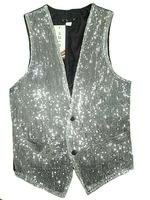 New 2014 Genuine stage performances photography fashion slim Slim silver and white sequined suit vest men S-XXXL Free shipping