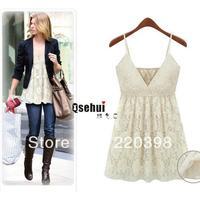 2013 hot Casual dress women lace dress womens sexy&club super dresses mini deep V spaghetti strap vests dress/tops 9803