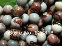Free shipping (3 strands/set) natural  10mm Chaohua  jasper round  charm mix beads stone