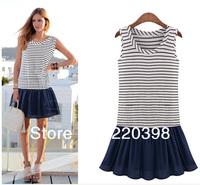 new 2014 hotsale fashion women brand striped dresses Lady O-neck sleeveless patchwork mini dress casual vestidos plus size  1201