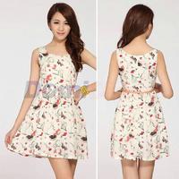 2015 New Women preppy dress summer Print dress Casual Style Sundress Mini geometric Dresses retro silk Without Belt