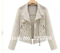 Women's Boutique Fashion Lace Hollow Metal Zipper Was Thin Lapel Long Sleeve Jacket 1619