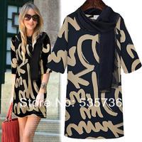 Casual Dresses  2014 New Fashion Women's Vestidos High Street Letter Novelty Knee length Summer Plus Size Dresses 588