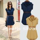 2014 hot  New Summer Fashion Loose Womens Chiffon Casual OL Slim Shirt Dresses Belt Blue Beige Plus Size S M L XL XXL 5168