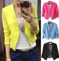 2014 Hot Sale Women's Fashion Korea Candy Color Solid Slim Suit Blazer Coat Jacket