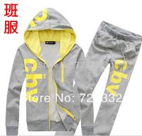 Free Shipping 2014 men's sports suit hood male sports set casual set male sweatshirt men's casual jacket +pants sportwears