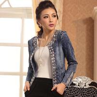 NewSlim Denim Jackets Outwear Jeans Coat Classical Rhinestone Sequins Retro Jackets Women Coats With Rivets Female Jackets11022