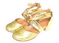 Modern dance shoes child women's ballroom dancing shoes ballroom dance shoes female double with gold paillette soft dance shoes