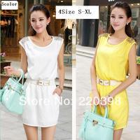 new 2014 summer women chiffon OL temperament Slim thin package hip sleeveless Knee-Length tank dress!S,M,L,XL3375