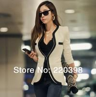 2014 New fashion Women Long Sleeve Slim Brand Jacket Lady Autumn V-neck Black White Suit OL Jackets Plus Size ja189