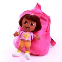 Free Shipping Cartoon Adventurous Dora Backpacks Plush Schoolbag Girls Kindergarten The Explorer Rescue Bag SHD-156