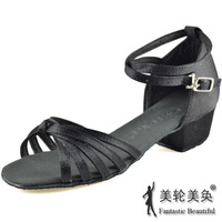 Nagle Latin shoes Latin dance shoes dance shoes dance shoes ballroom dance shoes black satin