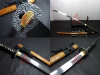 clay tempered battle ready 1095 carbon steel dragon tsuba katana sword sharpened