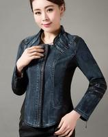 Casual leather jacket women 2014 spring and autumn leather clothing 5XL plus size spliced denim jacket leather coat jackets lady