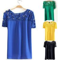 White Blue Yellow Top Women ladies Lace Sleeve Chiffon Shirt Tops Gorgeous Short Sleeve casual blouse blouses & shirts blusas