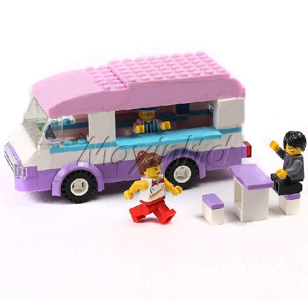 Kid Building Block City Ice-cream Van Truck Bricks Enlighten Toy Set Model(China (Mainland))