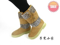 Leopard print mosaic women's warm shoes home shoes warm snow boots female boots warm shoes