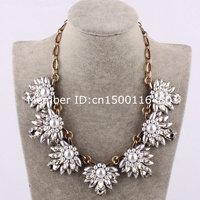 yiwu trendy fashion crystal statement rhinestone flower necklace 880