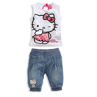 free shipping Children's short-sleeved set new Hello kitty summer 2014 girls cowboy suit sleeveless suit two sets