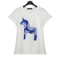 New 2014 Women's Plus Size t-shirt Horse Print Tops crop top for Women  t shirt Summer Cloths for Women