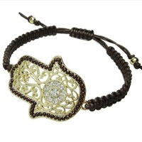 Big crystal fatima hamsa hand charm knitted string good lucky bracelet for gift one piece