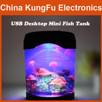 2014 new arrival Electronic USB Desktop Mini Fish Tank  with small night light free shipping