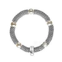 European Style Fashion Bracelet 925 Silver Snowflakes Natural Freshwater Pearl Bracelet TMS-MBR068