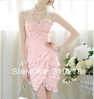 Free shipping hot sale women's fashion pink multi-layer ruffle chiffon dresses slim sexy spaghetti strap one-piece dress S-XL
