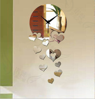 Min order 15 usd ( Mix items ) 3D DIY Falling in love  home decoration DIY mirror wall clocks fashion