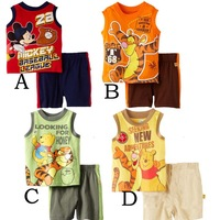 2014 new cartoon Tiger Mickey baby boys clothing set summer kids sport set baby vest t-shirt short pants free shipping