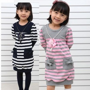 2014 Sale Special Offer Full Children's Clothing Girl Spring Stripe Fashion All-match Princess One-piece Dress Hot-selling(China (Mainland))