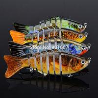"4pc/lot New 2014 Proberos 7 Sections Fishing Lure 10cm/4""-0.45oz/12.5g Swimbait Fishing bait 6# Black Hook Fishing Tackle"