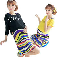 Hot Selling Women Summer Clothes Multicolour Stripe Maternity Dress Nursing Nightgown Long Casual Pregnant Dresses
