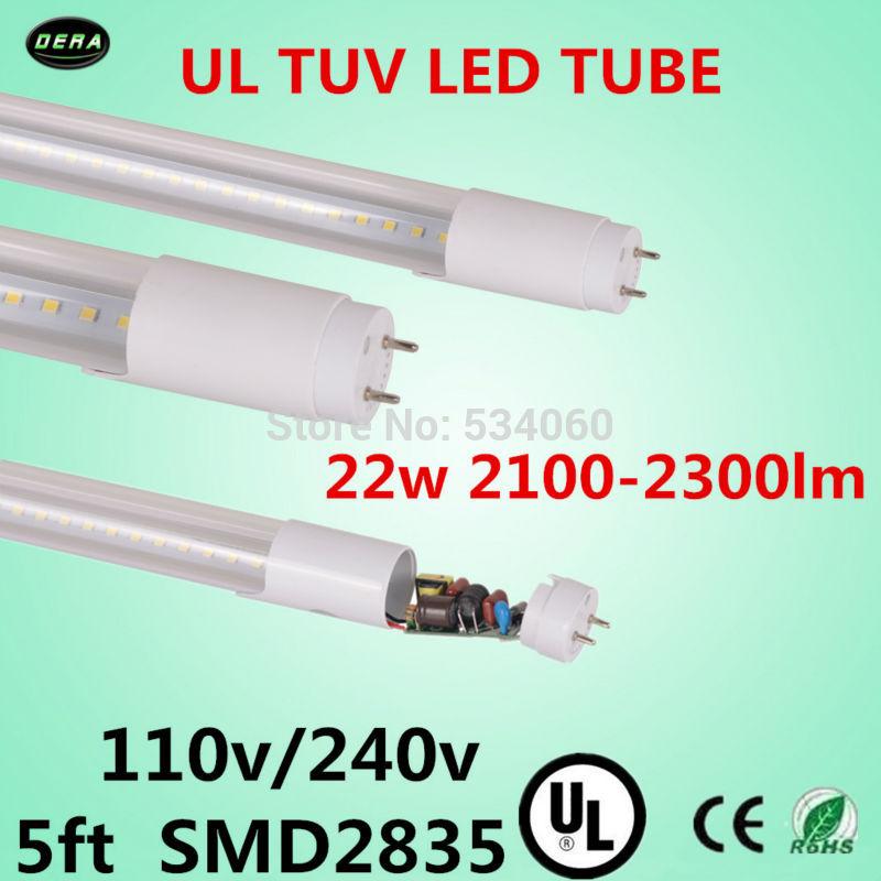 free shiping 60pcs/lot T8 UL led tube 22w UL TUV SMD2835 T8 light 110v/240v 5ft 2100-2300lm 1500mm T8 ul led fluorescent lamp(China (Mainland))