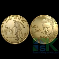 1935-1977 the king of Rock and roll, ELIVS PRESLEY Coins 5pcs/lot Free Shipping 1oz gold plated souvenir coin