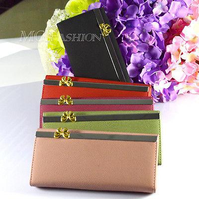Fashion Women's Button PU Leather Bowknot Wallet Clutch Purse Lady Long Handbag(China (Mainland))