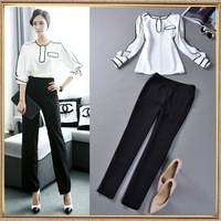 2014 spring and summer women's fashion color block chiffon shirt and skinny pants set