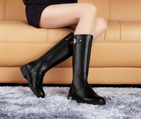 Winter fashion 13 long-barreled boots flat fashion boots round toe boots motorcycle boots high-leg  bota montaria